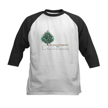 Gray Ribbon Xmas Tree Kids Baseball Jersey