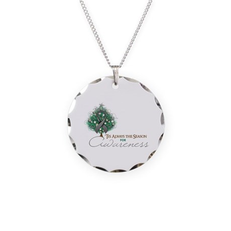 Gray Ribbon Xmas Tree Necklace Circle Charm