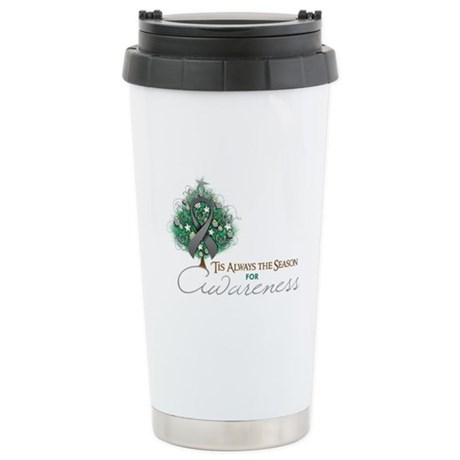 Gray Ribbon Xmas Tree Ceramic Travel Mug