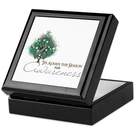 Gray Ribbon Xmas Tree Keepsake Box