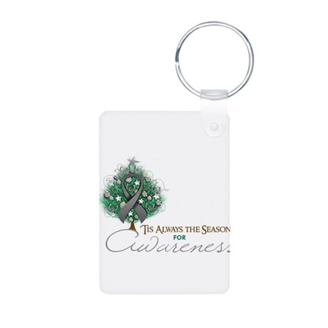 Gray Ribbon Xmas Tree Aluminum Photo Keychain