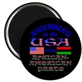 "USA / African American Parts Black 2.25"" Magnet (1"
