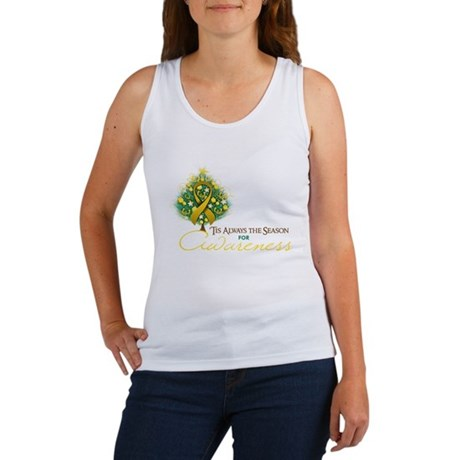 Gold Ribbon Xmas Tree Women's Tank Top