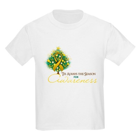 Gold Ribbon Xmas Tree Kids Light T-Shirt