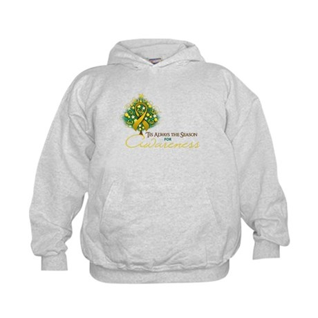Gold Ribbon Xmas Tree Kids Hoodie
