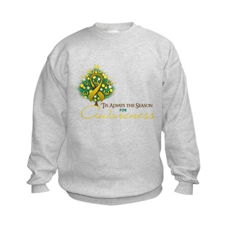 Gold Ribbon Xmas Tree Kids Sweatshirt
