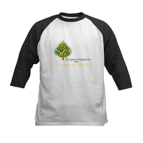 Gold Ribbon Xmas Tree Kids Baseball Jersey