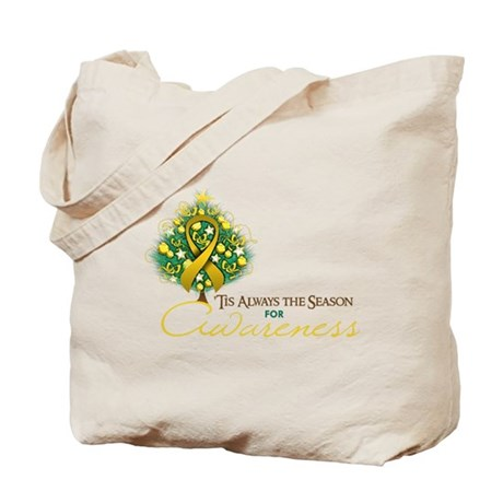 Gold Ribbon Xmas Tree Tote Bag