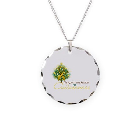 Gold Ribbon Xmas Tree Necklace Circle Charm