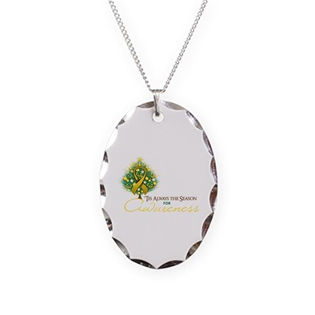 Gold Ribbon Xmas Tree Necklace Oval Charm
