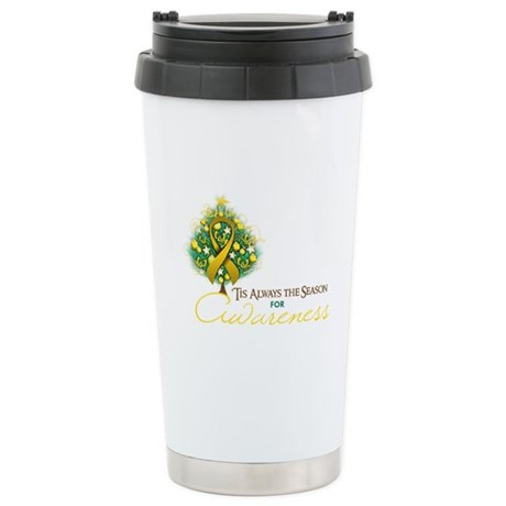 Gold Ribbon Xmas Tree Ceramic Travel Mug