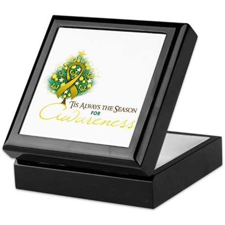 Gold Ribbon Xmas Tree Keepsake Box