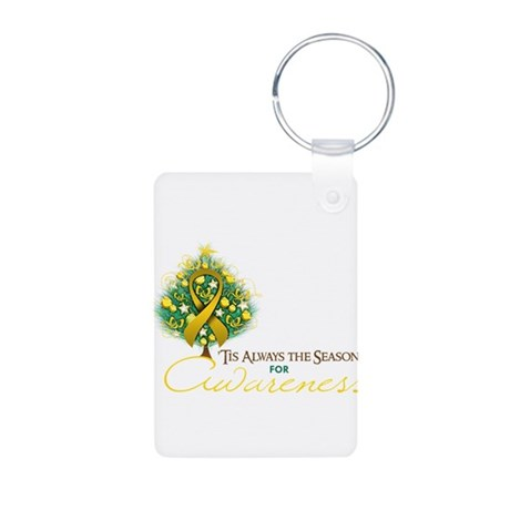 Gold Ribbon Xmas Tree Aluminum Photo Keychain