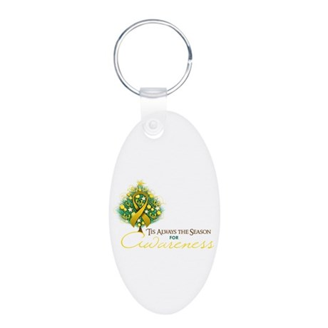 Gold Ribbon Xmas Tree Aluminum Oval Keychain