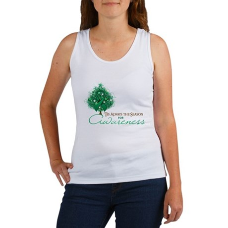 Emerald Green Ribbon Xmas Tree Women's Tank Top