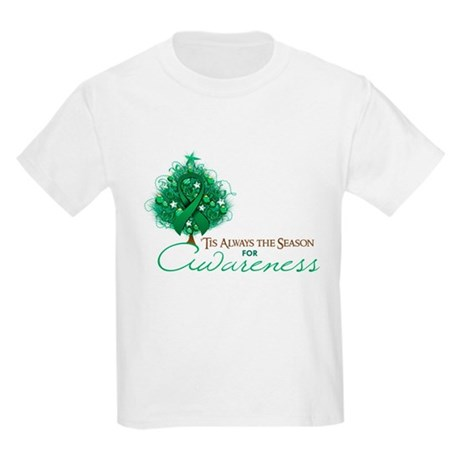 Emerald Green Ribbon Xmas Tree Kids Light T-Shirt
