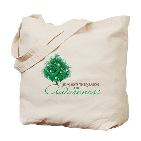 Emerald Green Ribbon Xmas Tree Tote Bag