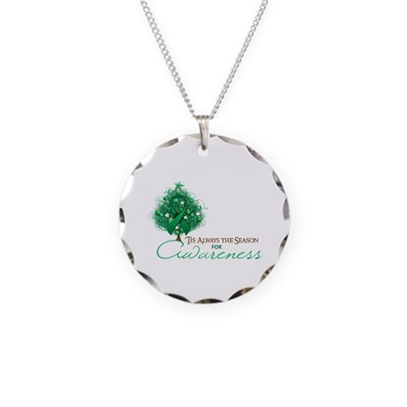 Emerald Green Ribbon Xmas Tree Necklace Circle Cha