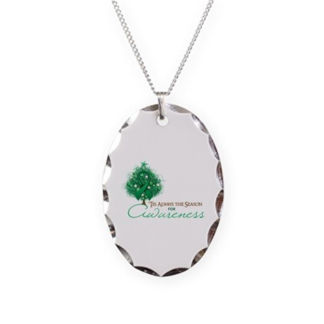 Emerald Green Ribbon Xmas Tree Necklace Oval Charm