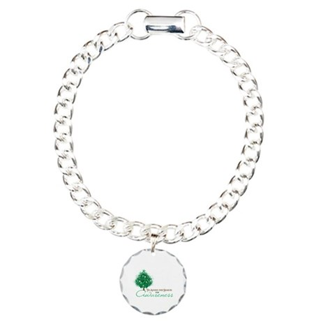 Emerald Green Ribbon Xmas Tree Charm Bracelet, One