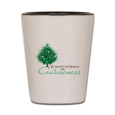 Emerald Green Ribbon Xmas Tree Shot Glass