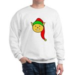 Elf Cat (red hat) sweatshirt (white)
