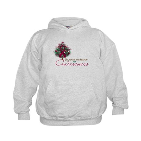 Burgundy Ribbon Xmas Tree Kids Hoodie