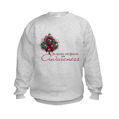 Burgundy Ribbon Xmas Tree Kids Sweatshirt