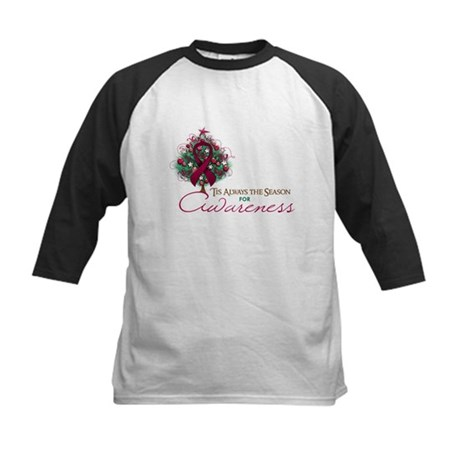 Burgundy Ribbon Xmas Tree Kids Baseball Jersey
