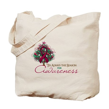 Burgundy Ribbon Xmas Tree Tote Bag