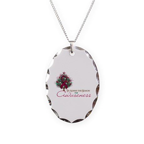 Burgundy Ribbon Xmas Tree Necklace Oval Charm