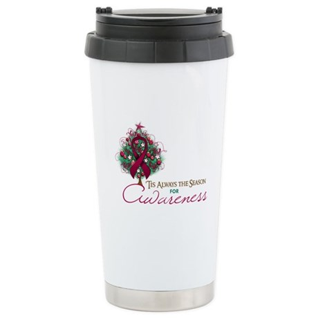 Burgundy Ribbon Xmas Tree Ceramic Travel Mug