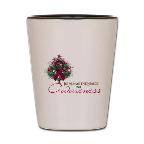 Burgundy Ribbon Xmas Tree Shot Glass