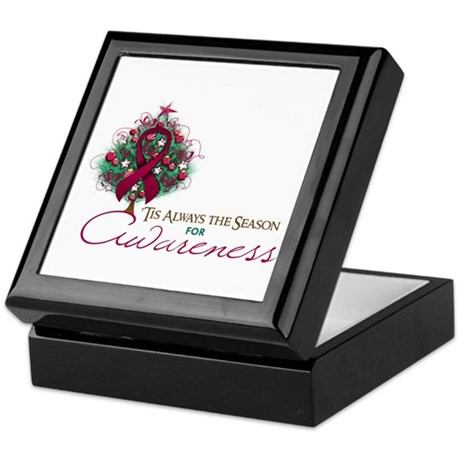 Burgundy Ribbon Xmas Tree Keepsake Box