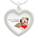Havanese Heart Silver Heart Necklace