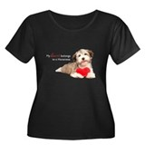 Havanese Heart Women's Plus Size Scoop Neck Dark T
