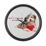 Havanese Heart Large Wall Clock