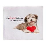 Havanese Heart Throw Blanket