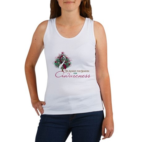 Burgundy and White Ribbon Xmas Tree Women's Tank T