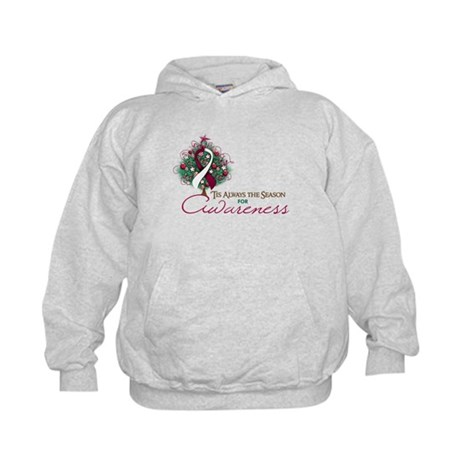 Burgundy and White Ribbon Xmas Tree Kids Hoodie