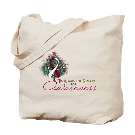 Burgundy and White Ribbon Xmas Tree Tote Bag