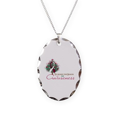 Burgundy and White Ribbon Xmas Tree Necklace Oval