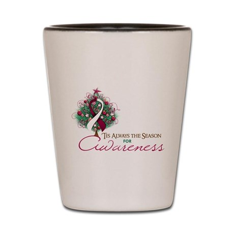 Burgundy and White Ribbon Xmas Tree Shot Glass