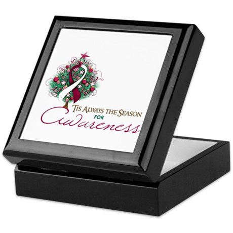 Burgundy and White Ribbon Xmas Tree Keepsake Box