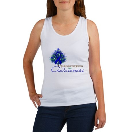 Blue Ribbon Xmas Tree Women's Tank Top