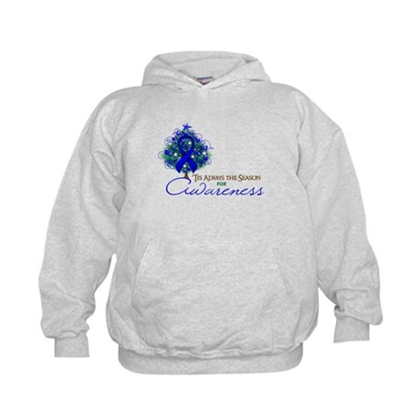 Blue Ribbon Xmas Tree Kids Hoodie