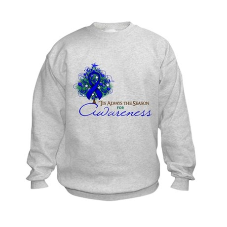 Blue Ribbon Xmas Tree Kids Sweatshirt