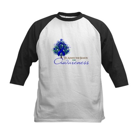 Blue Ribbon Xmas Tree Kids Baseball Jersey