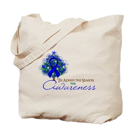 Blue Ribbon Xmas Tree Tote Bag
