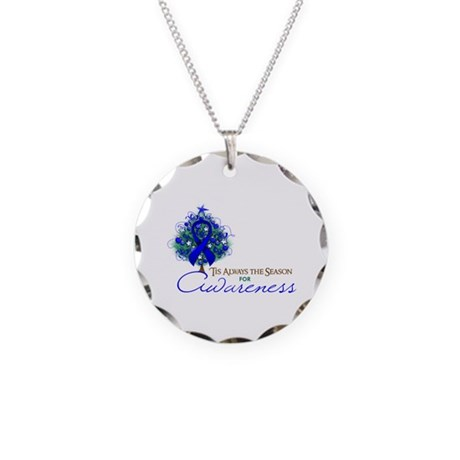 Blue Ribbon Xmas Tree Necklace Circle Charm